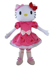 Wholesale cat mascots - Halloween mascot costume Pink Hello Cat Mascot Costume Cartoon Party Dress Free Shipping