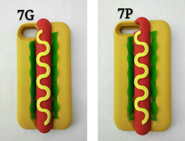 Wholesale Hot Dog Water - 3D Funny Delicious Food Hot Dog Soft Silicone Rubber Case For iPhone 5 5S 6 6S 7 Plus iPhone7
