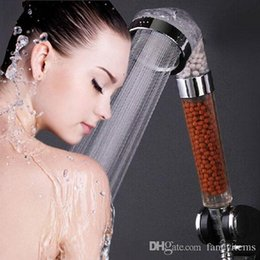 Wholesale Shower Head Water Filters - Shower Filter Tourmaline SPA Anion Hand Held Bathroom Shower Head Faucets Filter Pressurize Saving Water ABS Stainless Steel#60003