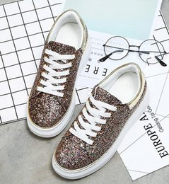 Wholesale Wholesale Designers Shoes - gold silver womens shoes sneakers special designer sequin pu leather sport new casual trainers DHL free shipping