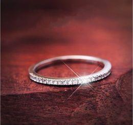 Anello di fidanzamento 6.5 online-Pave gioielli impostazione Luxury Vintage Soild Argento 925 Topaz diamante della CZ Fedi anello di fidanzamento per la Women Size 5-9 Mai Fade