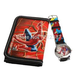 Rote uhren für jungen online-Cartoon Uhren Spider Man Series Quarzuhr mit Geldbeutel Lovely Red großes Geschenk für Kinder Jungen HB88