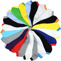 Тапочки на лодыжке онлайн-Оптовая-весна лето мужчины мода конфеты цвет лодка носки Мужские носки лодыжки человек носок тапочки 20 шт.=10 пар / лот