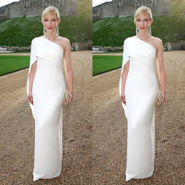 Wholesale New Celebrity Evening Gowns - Cheap Simple Sheath Formal Celebrity Gowns 2016 White One Shoulder Floor Length Ruffles Evening Party Dress New Arrival Red Carpet Gowns