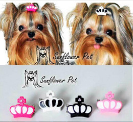 Wholesale Resin Tables - New Pet Accessories resin crown clip Dog Bows Dog Grooming Hair Bows Doggie Pet Gifts hair clip Xi shi Yorkshire dog hair
