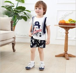 Wholesale Camouflage Sleeves T Shirts Children - 2016 Baby Boys Clothing Sets Children Cartoon Chaplin False Two-Piece Short Sleeve T-shirt+Camouflage Shorts 2pcs Kids Outfits Boy Suit