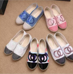 Wholesale Thick Rubber Soles - New Arrival Sheepskin Genuine Leather Thick Sole Espadrilles Women's Canvas Glitter Shoes 4 colors size 35-42