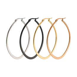 Wholesale Hoops For Earrings - Hot Sale Ellipse Shape Hoop Earrings For Women Trendy Style Stainless Steel Big Circle Earring For Engagement Party