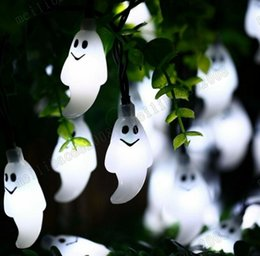 Wholesale pink flicker - Ghost Led String Light Halloween Decorations 30 LED Solar Powered Steady Flickering Light Outdoor Lights for Holiday Party Patio MYY