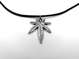 Wholesale Maple Leaf Charms Wholesale - 10PCS European American Canada Jamaica Hemp Maple Leaf Necklace Pendants African Plants Long Tree Foliage Leaves Leather Rope Necklaces