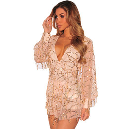 Wholesale Evening Black Jumpsuit - 2016 Sexy Party Club Deep V-Neck Champagne Sequined Bodysuit Romper Long Sleeve Sexy Hollow Out Sequin Tassel Shorts Jumpsuit Evening dress