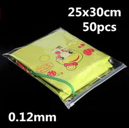 25x30cm 50pcs Bolsas plásticas de plástico con cierre hermético / Paquete Vestido adulto de verano, suéter fino, jersey de algodón, bolsas de uso de papel A4 estándar desde fabricantes