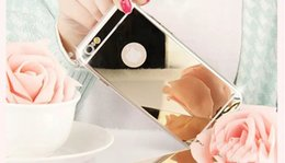 Wholesale Diamond Cell Phone Cases - Stylish luxury mirror with diamond cell phone shell, TPU material For iphone 5  5s   6   6s  6 plus   6s plus