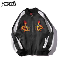 Wholesale Chinese Dragons - Wholesale- #3003 Spring Fall Chinese Dragon Embroidery Harajuku Ropa casual hombre Patchwork Bomber jacket men Chaqueta hombre Veste homme