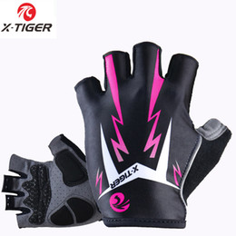 Wholesale Fitness Road - X -Tiger Women Shockproof Cycling Gloves Fitness Female Sport Bike Gloves Motorcycle Outdoor Mountain Road Bicycle Riding Gloves