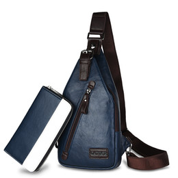 Wholesale Leather Cycling Bag - Men Leather Messenger Bags Sport Casual Outdoor Cycling Hiking Chest Bag Small Shoulder Crossbody Bag Blue