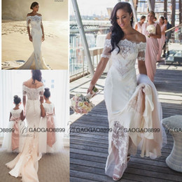 Wholesale Holidays Brooches - Steven Khalil 2016 Summer Holiday Beach Mermaid Wedding Dresses with Sleeves Pallas Couture Off-shoulder Cheap Lace Bridal Wedding Gown
