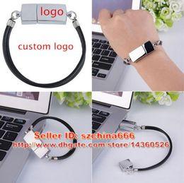 Wholesale Gift Flash Drive Bracelet - Custom Logo Metal Bracelet USB Flash Drive 2.0 Thumb Memory Stick Fashion Gift 2GB 4GB 8GB 16GB