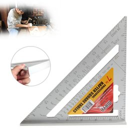 Wholesale Measuring Inch - Carpenter's Triangle Ruler 7 inch Alloy Square Measuring Ruler Triangle Angle Protractor Mini Layout Tool Measuring Tools OOA2576