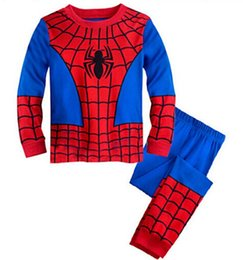 Wholesale Pyjama Boys Cars - girls boys clothes kids spiderman pajamas sets baby long sleeve pijamas boys car styling pyjamas children batman sleepwear