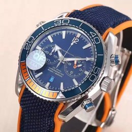 Wholesale Rubber Watches Sports - New Mens Chronograph Japan Quartz OS 20 Watch Men Blue Dial Master 600m Co Axial Watches Men VK Sport Date Chronometer Time 007 Wristwatches