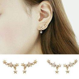 Wholesale Pointed Piercing Studs - Hot! Women's Five-Pointed Star Pendant Rhinestone Party Ear Studs Piercing Earrings