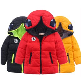 Wholesale Spiderman Thick Hooded - New children's spider man hat coat thick down jacket winter clothing children SpiderMan winter coat thick boy for 5-10Y
