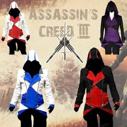 Wholesale Assassins Creed Women Costume - Fashion Assassins Creed 3 Cosplay Hoodies Plus Size Jacket Cosplay Costume Customizable Casual Costume for Men Women Cap Cloak