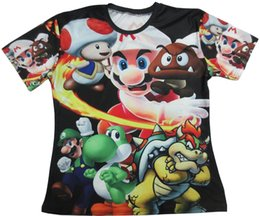 Wholesale Cute Mario Bros - Custom Super Mario Bros Sublimated T Shirt bred powder legend video games classic Men Women Teens Hip Hop Evening Party Cute Tops Tee tshirt