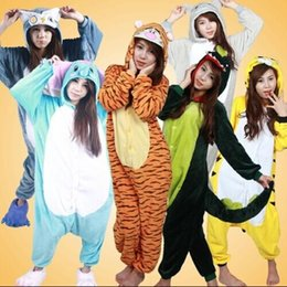 Wholesale Japanese Panda Costume - Unisex Adult Flannel Pajamas Adults Cosplay Cartoon Cute Animal Pyjama Sets Sleepwear Pikachu Stitch  Tiger panda