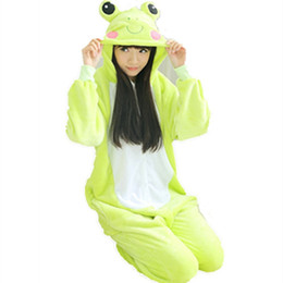 Wholesale Cute Women Jumpsuits - Unisex Men Women lady clothes Adult Pajamas Cosplay Costume Animal Onesie Sleepwear Cartoon animals Cosplay CUTE Frog sleepsuit   jumpsuit