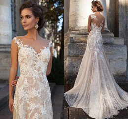 Wholesale plus size blush wedding dresses - 2017 Cheap Milla Nova Blush Pink Wedding Dresses A Line Cap Sleeves Full Lace Appliques Sheer Back Sweep Train Plus Size Formal Bridal Gowns