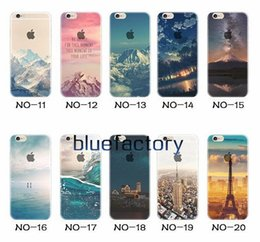 Wholesale London Cases - For iphone 7 plus Transparent Clear Soft TPU Scenery Case Beautiful Mountain City Tower Snow Scenery London Back Phone Cover for iphone 6s