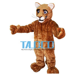 Wholesale Costume Cougars Mascot - Little Leopard Panther Cat Cougar Cub Mascot Costume Adult Size Cartoon Character Mascotte Mascota Outfit Suit Fancy Dress