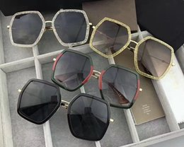 Wholesale Round Sequins - New fashion women sunglasses irregular crystal sequins frame top quality summer style bee series protection eyewear 0106 with box