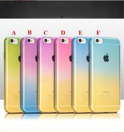 Wholesale Iphone 4s Cover Colour - ULTRA THIN Clear transparent Crystal TPU 2 Colour Gradient rainbow Colorful CASE for iphone 4S 5S 6 6 Plus galaxy S6 S6 Edge case cover