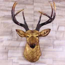 Wholesale Big Size Gold Deer Head Wall Decor Stag Head Wall Mount Animal Head Wall Hanging Sculpture Faux Animal Heads By White Faux Taxidermy