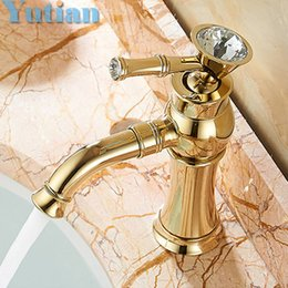 Wholesale Gold Basin Faucet - Wholesale- Free Shipping New arrival Bathroom gold Basin Faucet Gold finish Brass Mixer Tap with ceramic torneiras para banheiro YT-5027