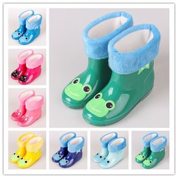 Wholesale Warm Boots For Kids - New winter warm waterproof kids rain boots for baby girl and boy carton jelly candy colors 7 colors rain boots with cotton wool