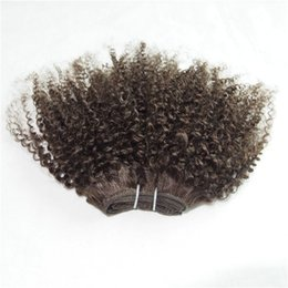 Wholesale Kinky Hair Weave Styles - 1 piece Kinky Curly Free Shipping #2 #4 Brown Color Short Curly Human Hair Weave Star Bob Style 100g pc 2pcs Can Make Full Head