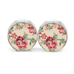 Wholesale Stainless Steel Tunnels Double Flared - 16pcs ear plugs stainless steel vintage flower double flare ear plug gauges tunnel body piercing jewelry 4-16mm