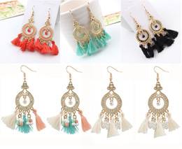 Wholesale Tassel Bead Earrings - 5 Color Tassel Drop Dangle Earrings Bohemian Ethnic Bead Gold Circle Short Tassel Jewelry For Women Girls Jewelry Accessories B670L