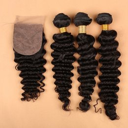 Wholesale Indian Curly Silk Base Closure - Indian Deep Wave With Closure 4 Pcs Lot Silk Base Closure With Bundles 8A Unprocessed Virgin Human Hair Weave With Silk Closure