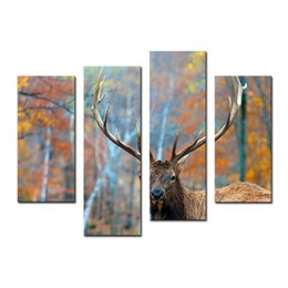 Wholesale Elk Painting - Amosi Art-4 Pieces Elk In Forest Autumn Wall Art Painting The Picture Print On Canvas Animal Pictures For Home Decor Gift with Wooden Framed