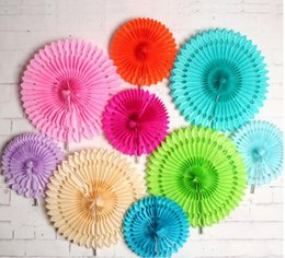 Wholesale Holiday Tissue Paper - Hollow Tissue Hanging Paper Fans For Home Garden Wedding   Kids Birthday Party   Baby Shower  Wall Decoration 20cm 40cm G790