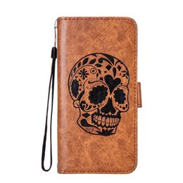Wholesale Moto Skull - Retro Skull Wallet Leather Case For Iphone X MOTO C Plus E4 G4 Play G5 Plus G6 Z2 Play Strap Cartoon Stand ID Card Cellphone Skin Cover 1pcs