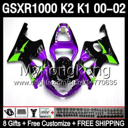 Wholesale Gsxr K1 Fairing - gloss purple 8gifts Body For SUZUKI GSXR1000 00 01 02 K1 GSX R1000 4MY126 GSX-R1000 00-02 K2 GSXR 1000 2000 2001 2002 purple black Fairing