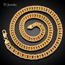 Wholesale Cuba Wholesalers - Thick Cuba jewelry snake copper chains 18K Real Gold Plated Figaro Chains Necklace Bracelet For Men Necklaces 18K Stamp Hot Men Jewelry
