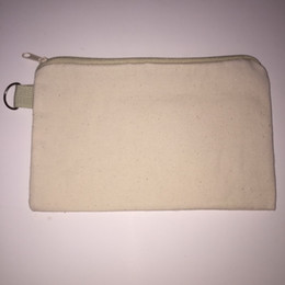 Wholesale Clutch Bags Wholesalers - 20pcs lot cotton canvas cosmetic Bags women blank plain zipper makeup bags Mobile phone clutch bag organizer cases pencil pouches
