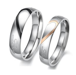 "Wholesale Half Heart Stainless Steel - JEWELRY 2 rings Free Box! ""Real Love"" 316L Stainless Steel half Heart Couple ring for Wedding  Engagement hot promise ring"